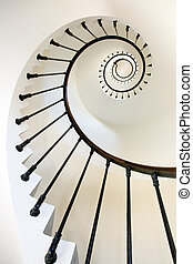 lighthouse stairs - vertical and dynamic view of clean...