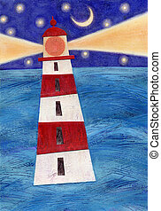 Lighthouse - Mixed media collage of a lighthouse; an...