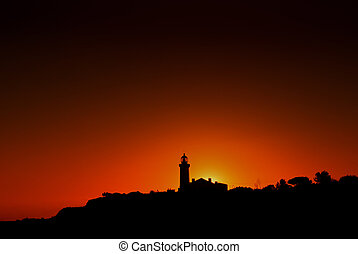 lighthouse at the coast of algarve, the south of portugal