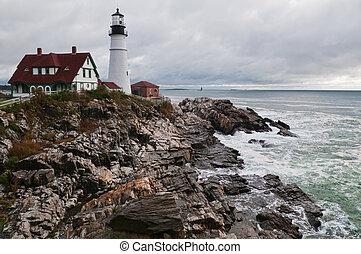 Lighthouse on the Atlantic coast, Cape Elizabeth, Maine
