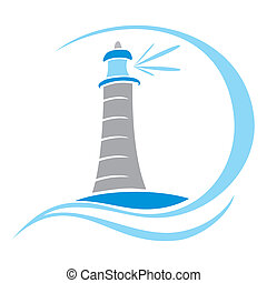 Lighthouse symbol - Illustration of a lighthouse on white...