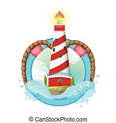 Lighthouse Symbol Logo illustration Design Vector