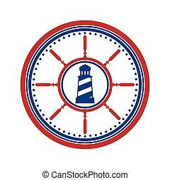 Lighthouse symbol on white