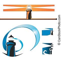 lighthouse symbol set