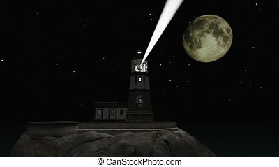 lighthouse under the moonlight