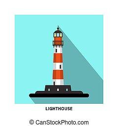 Lighthouse Vector Flat Design Symbol. Beacon Icon.