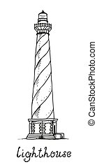 Lighthouse vector hand drawn illustration
