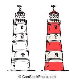 Lighthouse vector illustration isolated on white background
