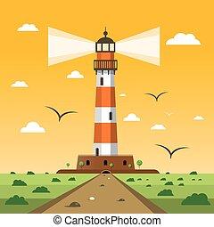 Lighthouse. Vector Sunset Nature Landscape Cartoon.