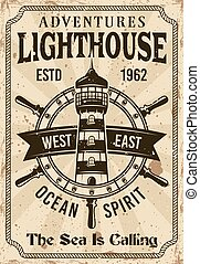 Lighthouse vintage nautical vector poster