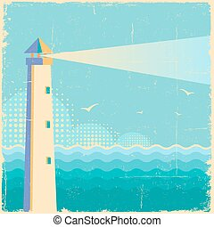Lighthouse vintage poster.Vintage sea waves background