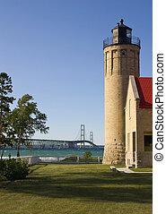 Old Mackinac Point Lighthouse and Mackinac Bridge - Mackinaw City, Michigan, USA