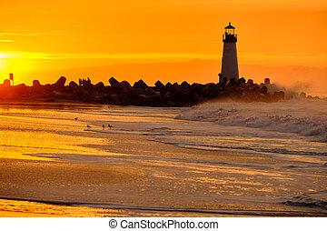 lighthouse), (walton, szent, hullámtörő gát, fény, cruz, ...
