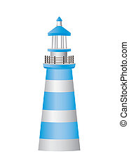 lighthouse, white and blue, on the white background