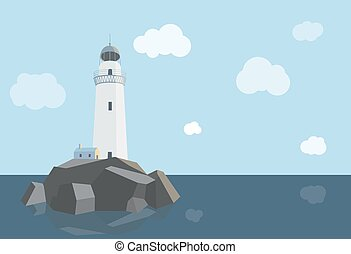 Lighthouse with barn on rocks by the sea , daytime, flat illustration