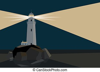 Lighthouse with barn on rocks by the sea, night time, flat illustration