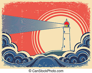 Lighthouse with blue sea. Vector grunge background for design of symbol card
