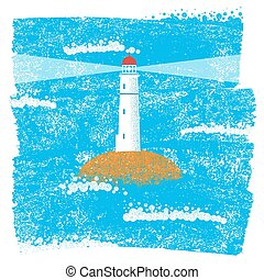 Lighthouse with blue sea grunge background