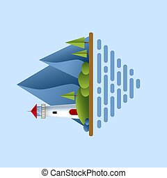 Lighthouse with blue sea, mountains, roks andtree. Lighthouse in ocean for navigation illustration. Island landscape.
