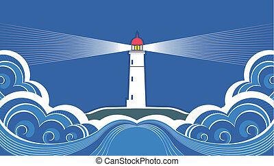 Lighthouse with blue sea. Vector symbol card
