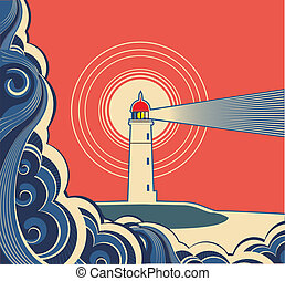Lighthouse with blue sea. Vector symbol poster