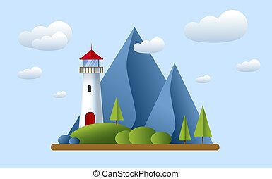 Lighthouse with clouds, mountains, roks andtree. Lighthouse in ocean for navigation illustration. Island landscape.