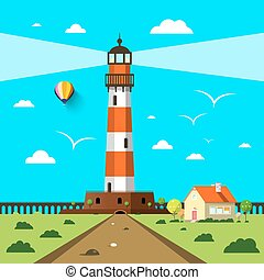 Lighthouse with House and Hot Air Balloon on Sunny Day