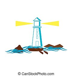 Lighthouse with mountains and boat on the sea