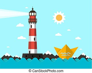 Lighthouse with Paper Boat on Ocean Waves - Vector Landscape