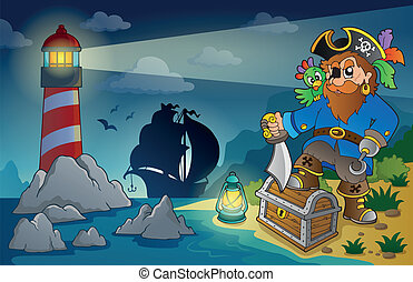 Lighthouse with pirate theme 4 - eps10 vector illustration.