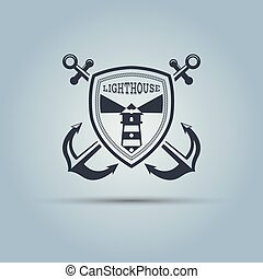 Lighthouse with shield and two crossed anchors vector template