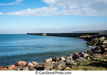 Lighthouses at piers in Aberdeen Harbour entrance