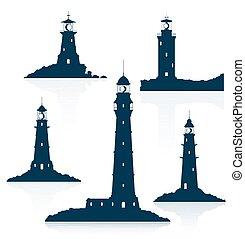 Lighthouses set isolated on white