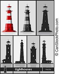 Lighthouses. Set of huge lighthouses.