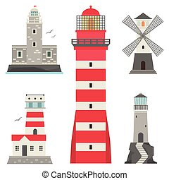 Lighthouses vector flat searchlight towers for maritime navigation guidance ocean beacon light tower lighthouse. Travel water sailing signal safety security symbol.