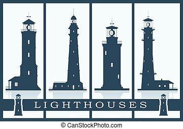 Lighthouses vector set.