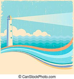 Lighthouse.Vintage sea waves background
