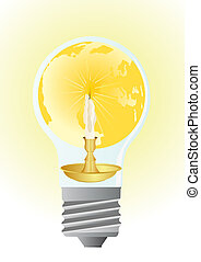 Abstract image of a light bulb, which is located inside the planet Earth and burning wax candle.