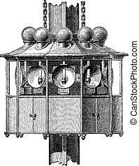 Lighting apparatus floating fire, vintage engraving.