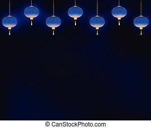 Lighting blue lanterns on dark background.