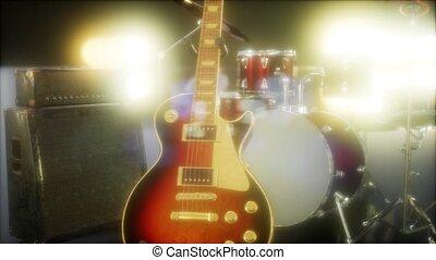 lighting., buehne, satz, trommel, unterworfen, gitarre