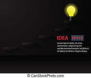Lighting Bulb on ladder