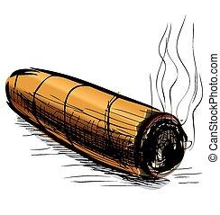 Lighting cigar isolated on white. Sketch vector illustration
