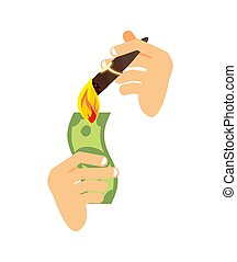 Lighting cigar with dollar isolated. Rich symbol Vector illustration. Sign of wealth