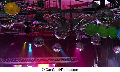 lighting equipment  at concert - timelapse