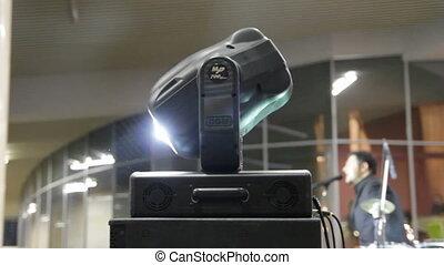 lighting equipment  at concert - turning spotlight