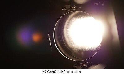 Lighting equipment, flash or spotlight, on and off, black,...