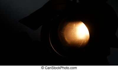 Lighting equipment, flash or spotlight, light on and off,...