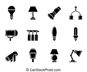 Silhouette different kind of lighting equipment - vector icon set