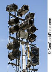 Lighting equipment outdoors against blue sky